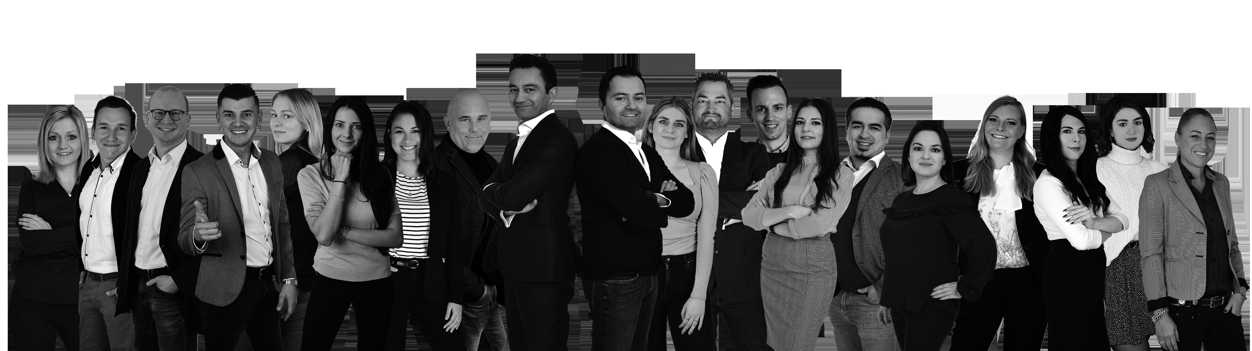 Teambild Schwarzweiß